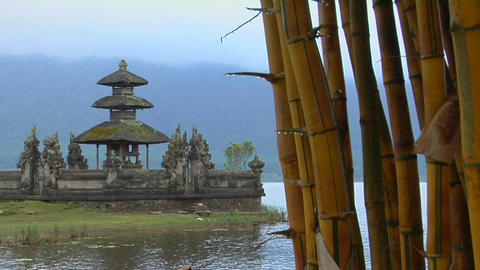 Bamboo drips with dew at the Ulun Danu temple on Lake Bratan, Bali Footage
