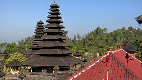 Trees surrounds buildings of the Besakih Temple complex... Stock Video Footage