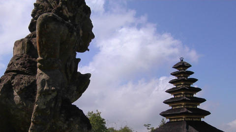 A statue of a Balinese god looks out over the Besakih Temple complex in Bali, Indonesia Footage