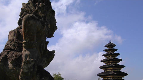 A statue of a Balinese god looks out over the Besakih... Stock Video Footage