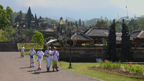 A religious procession passes by Besakih Temple in Bali,... Stock Video Footage