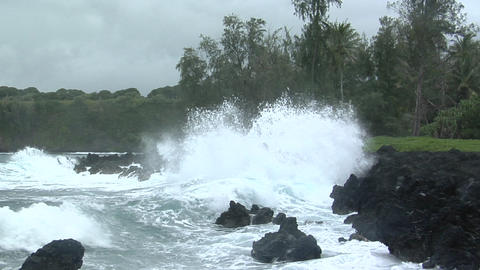 A large Pacific storm batters Hawaii with large waves Stock Video Footage