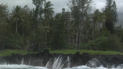 A large Pacific storm batters a tropical island with... Stock Video Footage