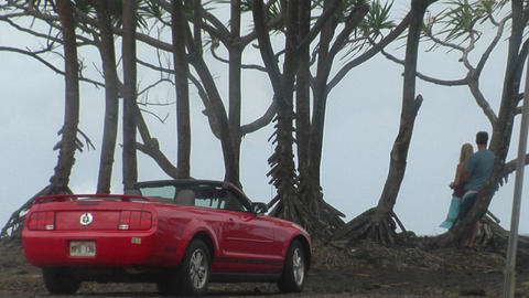 lovers stand against a perfect ocean vista with a Ford Mustang convertible in foreground Footage