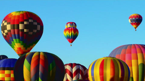 Colorful balloons rise above the Albuquerque Balloon... Stock Video Footage