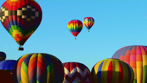 Colorful balloons rise above the Albuquerque Balloon Festival Footage