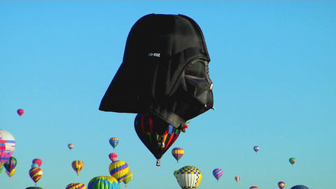 A Balloon At The Albuquerque Balloon Festival Looks Like A Darth Vader Mask stock footage