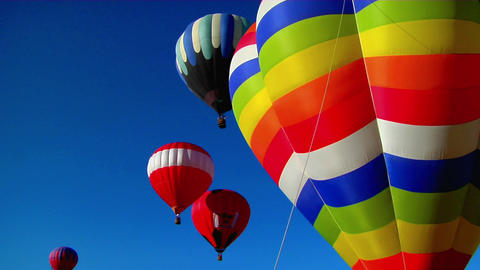 Colorful balloons launch at the Albuquerque Balloon Festival Footage