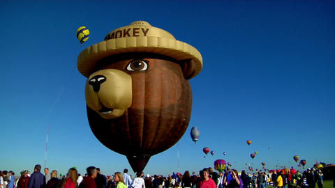 A Smokey The Bear balloon at the Albuquerque Balloon Festival Footage