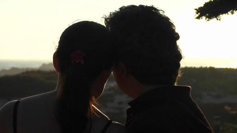 A man and woman kiss and look at the beautiful scenery Stock Video Footage