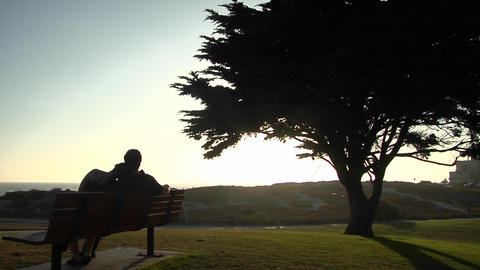 A couple snuggles on a park bench Stock Video Footage
