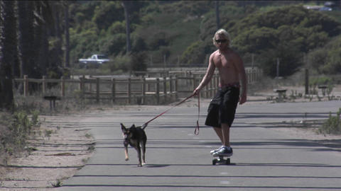 A man walks a dog while skateboarding Stock Video Footage