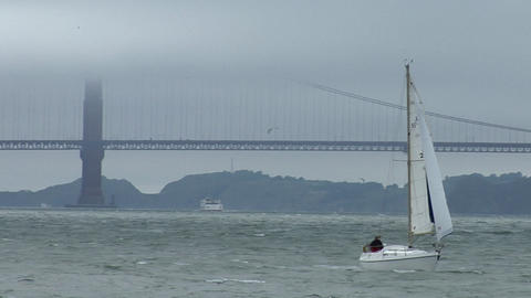 A sailboat coasts near the Golden Gate Bridge on a windy day Footage