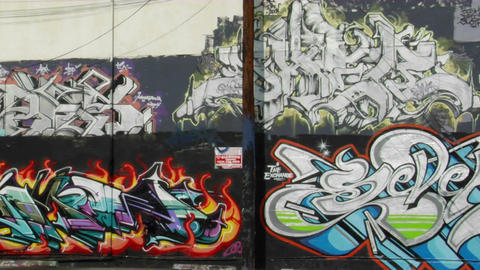 Graffiti decorates the wall of a building in downtown Los Angeles Footage