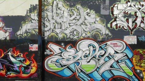 Graffiti decorates the wall of a building in downtown Los... Stock Video Footage