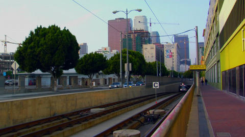 A subway moves above ground Stock Video Footage