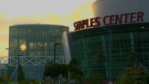 Traffic drives past the Los Angeles Convention Center and... Stock Video Footage
