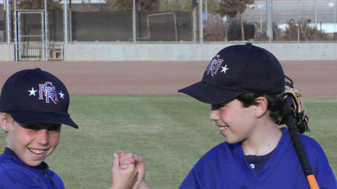 young baseball players give each other handshakes Stock Video Footage