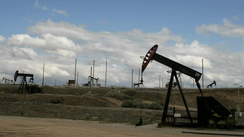 Oil pumps move up and down Stock Video Footage