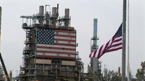 American Flags Hang At An Industrial Facility stock footage