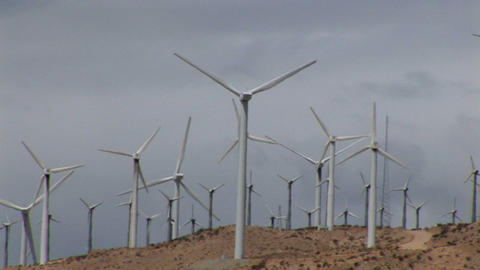Wind turbines generate electricity Stock Video Footage