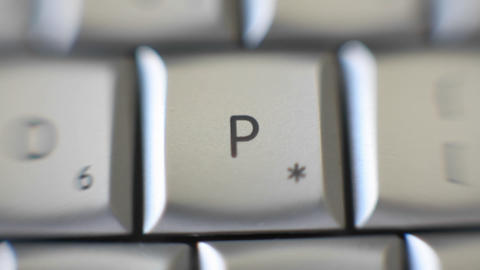 The letter P is on a computer keyboard Footage
