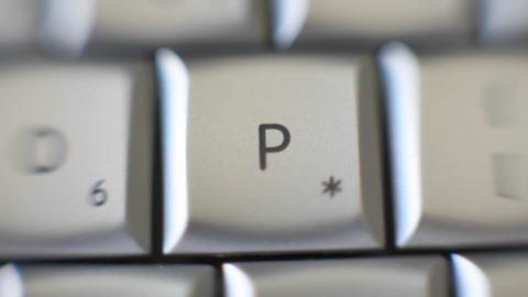 The letter P is on a computer keyboard Stock Video Footage