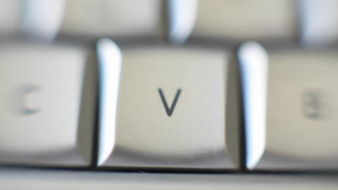The letter V is on a computer keyboard Stock Video Footage
