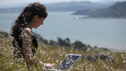 A woman sits in the grass and uses her laptop Footage