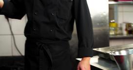 Chef prepares bone steak 4k video: puts raw meat grill charcoal oven. BBQ Footage