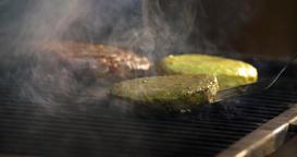 Chef grilling meat steak beef patty burger 4k video. Hamburger preparing oven Footage