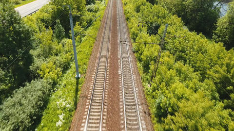 Aerial view over railway Live Action