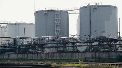 fuel storage tanks. Capacities at the modern industrial enterprise. Industrial scene Live Action