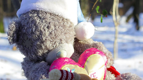 Big teddy bear single big frame Stock Video Footage