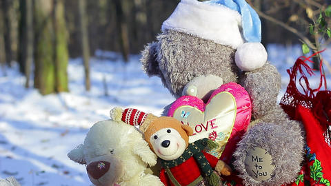 Big teddy bear with christmas toys change focus Footage