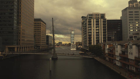 Wide angle panoramic view of Canary Wharf, the financial district of London UK Footage