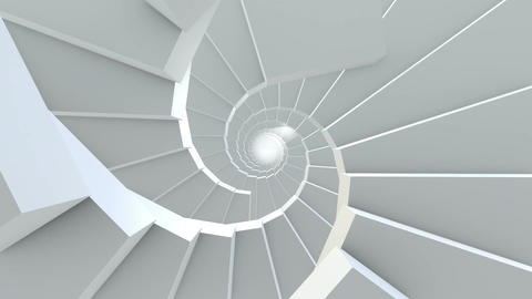 Rotating stairs in white color Animation