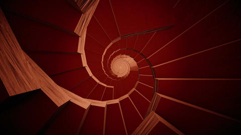 Rotating stairs in dark red Animation
