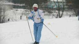Skier runs on a ski track Footage