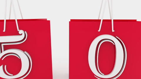 Moving shopping bags with inscription 50 percents Animation