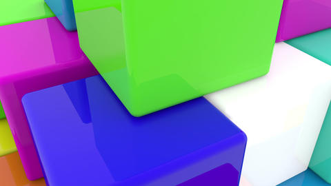 Pyramid of toy cubes in on white Animation