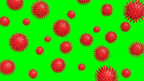 Kind of virus image.Virus concept object on green chroma key Animation