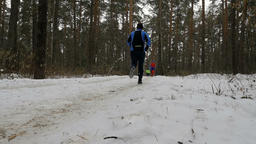 group of runners athletes running snowy trail pine forest Footage