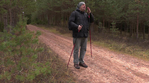 Man call for other people in forest Footage