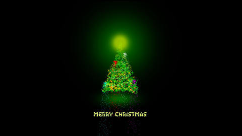 Christmas tree with light and firework CG動画素材