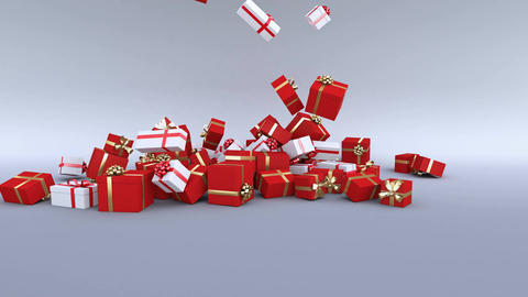Gift boxes falling on the ground. Christmas gifts. Alpha... Stock Video Footage