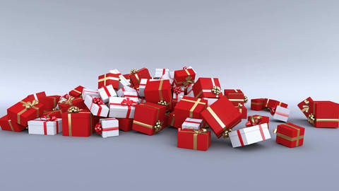 Gift boxes falling on the ground. Christmas gifts. Alpha channel included. 4K Animation