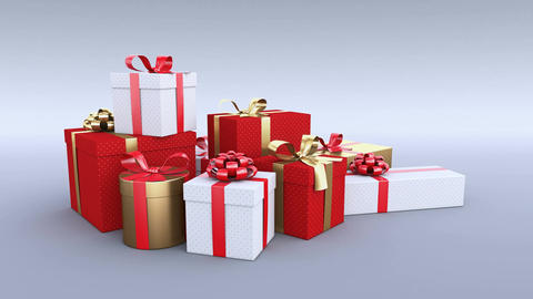 Gift boxes growing from the ground. Christmas gifts. Alpha channel included. 4K Animation