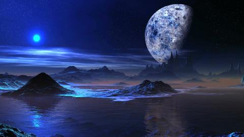 Alien Blue Sunrise And A Huge Moon Animation