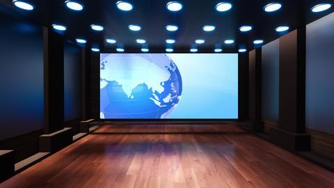 Wooden News Studio 3D Virtual TV Studio News 3 Animation